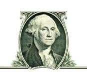 George Washington σε ένα δολάριο που απομονώνεται στο λευκό Στοκ Εικόνα