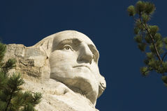 George Washington 7. Closeup view of George Washington on Mount Rushmore National Monument in the Black Hills of South Dakota Stock Photo