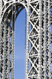 George Washington Bridge. Close-up shot of the George Washington Bridge across the Hudson River. The bridge connects the Washington Heights neighborhood in the royalty free stock image