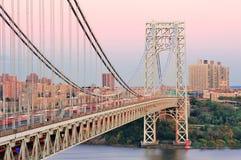 George Washington Bridge. At sunset over Hudson River Royalty Free Stock Image