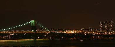 George Washington Bridge. Night panorama Stock Photos
