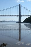 George Washington Bridge. And  reflection, looking south at the NYC skyline Royalty Free Stock Image
