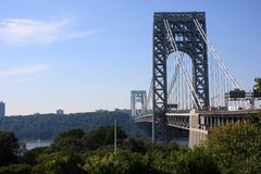 George Washington Bridge. Scenic view of George Washington suspension bridge across Hudson river viewed from Manhattan side, New York City, U.S.A Stock Photography