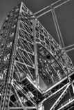 Closeup photo of the George Washington bridge tower in black and white Royalty Free Stock Photography