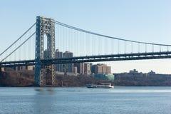 George Washington Bridge from Fort Lee Historic Park stock images
