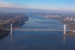 George Washington bridge in New York in USA. Aerial helicopter view. General view royalty free stock images