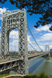 George Washington Bridge Over the Hudson. The George Washington Bridge spans over the Hudson River from NJ to NY Royalty Free Stock Images