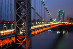George Washington Bridge over the Hudson River stock image