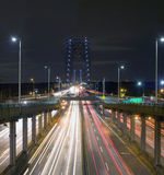 George Washington Bridge på natten Arkivfoton