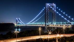 George Washington Bridge por noche Imágenes de archivo libres de regalías