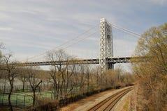 George Washington Bridge and railroad track Royalty Free Stock Photo