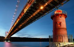 George Washington Bridge and Red Little Lighthouse officially Jeffrey`s Hook Light, New York, USA stock images