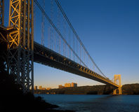 George Washington Bridge at sunrise. Stock Images