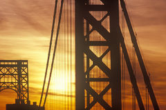 George Washington Bridge at sunrise, New York City, NY Stock Photography