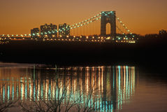 George Washington Bridge at sunset, New York City, New York Stock Photo