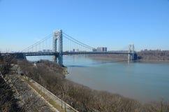 George Washington Bridge. The George Washington Bridge is a suspension bridge spanning the Hudson River upper Manhattan in New York City to Fort Lee, New Jersey Stock Photo