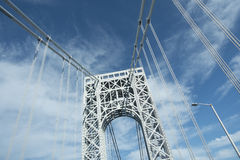 George Washington Bridge tower viewed from road Royalty Free Stock Image