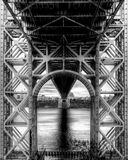 George Washington Bridge unique perspective. An artistic perspective of George Washington Bridge stock photography