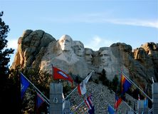 George Washington Catching Rays at Mount Rushmore. George Washington is highlighted with sun shining on his face at Mount Rushmore. Father of our country is Stock Images
