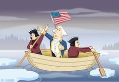 George Washington che attraversa il fiume di Delaware Immagine Stock