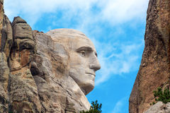 George Washington Closeup. Closeup profile of George Washington at Mount Rushmore National Monument in South Dakota Stock Photography