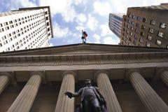 George Washington dat het Wall Street gebied overziet Stock Afbeelding