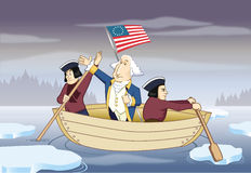 George Washington, der den Delaware-Fluss kreuzt Stockbild