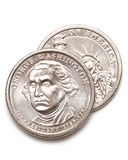George washington dollar coins 6 Royalty Free Stock Photos