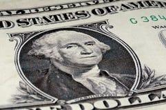 George Washington en un americano cuenta de 1 dólar Fotografía de archivo libre de regalías