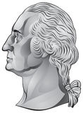 George Washington, first US president. George Washington, the first US president, portrait in a profile from the quarter dollar United States coin in Stock Images