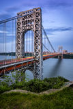 George Washington hudson przy zmierzchem i most zdjęcia royalty free