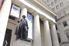 George Washington at the NYSE area. A statue of George Washington in downtown manhattan financial district Stock Image