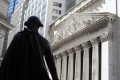 George Washington observing the New York Stock Exchange building Royalty Free Stock Photo