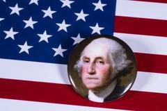 George Washington och USA flagga Fotografering för Bildbyråer