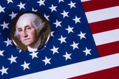 George Washington och USA flaggan Royaltyfri Foto
