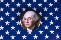 George Washington och USA flaggan Arkivbilder