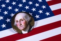George Washington och USA flaggan Royaltyfri Fotografi