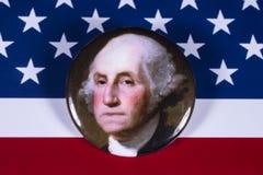 George Washington och USA flaggan Royaltyfria Bilder