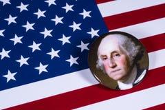 George Washington och USA flaggan Arkivfoto