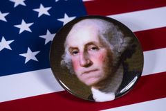 George Washington och USA flaggan Arkivfoton