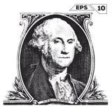 George Washington on one dollar bill Stock Photography