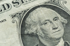 George Washington-Porträt auf wir ein Dollarscheinmakro Lizenzfreie Stockfotos