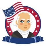 President Day Celebration. George Washington portrait for President Day celebration with North American USA flag Stock Photography