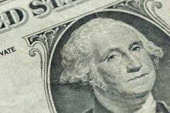 George Washington portret na my jeden dolarowy rachunek makro- Zdjęcia Royalty Free