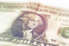 George Washington portret na usa jeden dolarowy banknot Makro- fotografia gotówka Obraz Stock