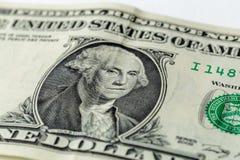 George Washington portret na usa jeden dolarowy banknot Makro- fotografia gotówka m Fotografia Royalty Free