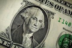 George Washington portret na usa jeden dolarowy banknot Makro- fotografia gotówka m Zdjęcie Royalty Free