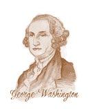 George Washington que graba el retrato del bosquejo del estilo Imagen de archivo