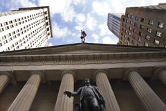 George Washington que pasa por alto el área de Wall Street Imagen de archivo