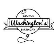 George Washington`s birthday greeting emblem royalty free illustration